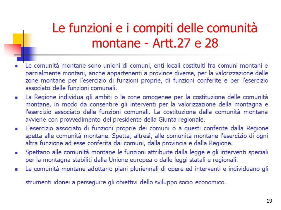 Le funzioni e i compiti delle comunità montane - Artt.27 e 28