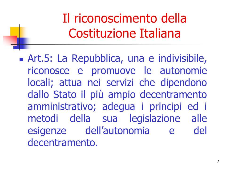 Il riconoscimento della Costituzione Italiana
