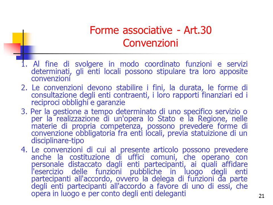 Forme associative - Art.30 Convenzioni