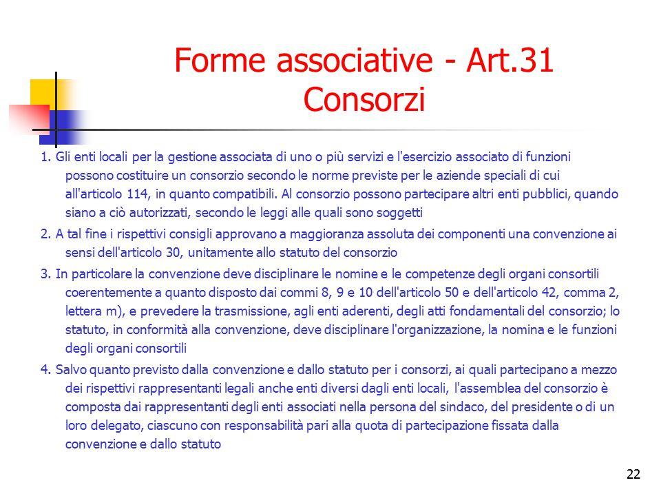 Forme associative - Art.31 Consorzi