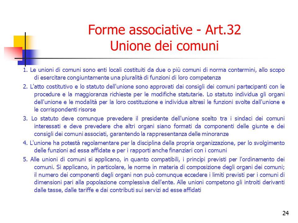 Forme associative - Art.32 Unione dei comuni