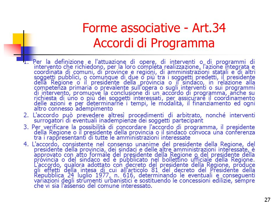 Forme associative - Art.34 Accordi di Programma