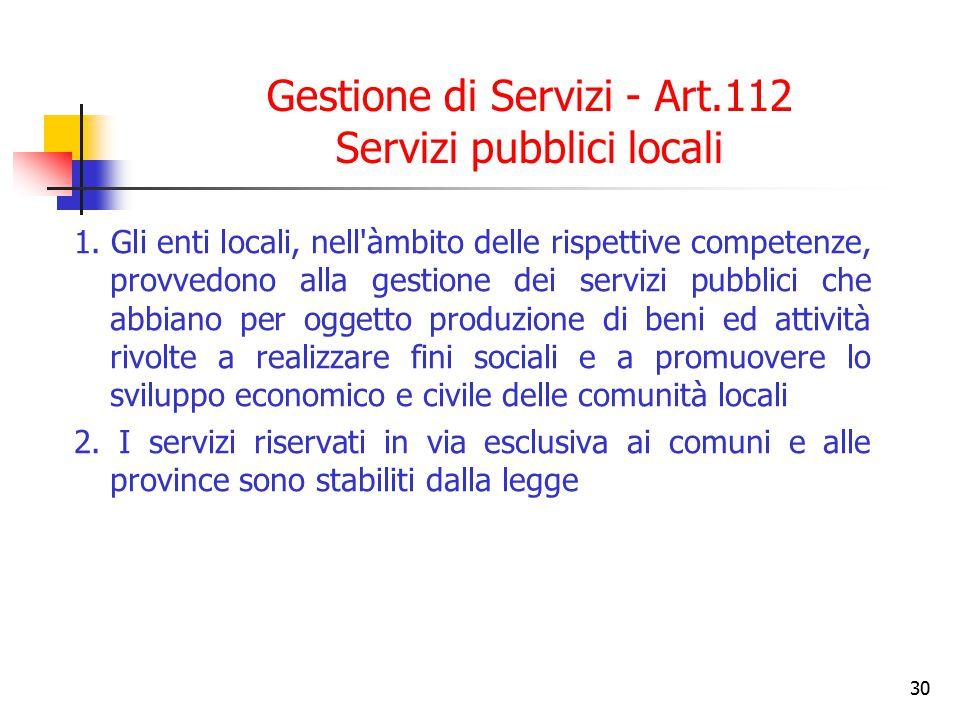 Gestione di Servizi - Art.112 Servizi pubblici locali