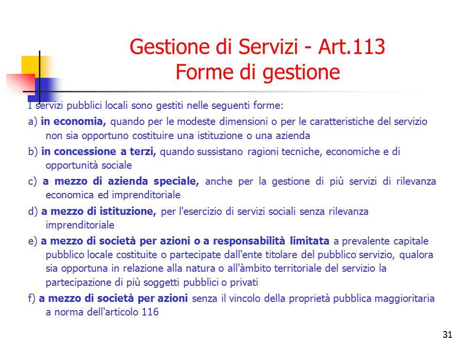 Gestione di Servizi - Art.113 Forme di gestione