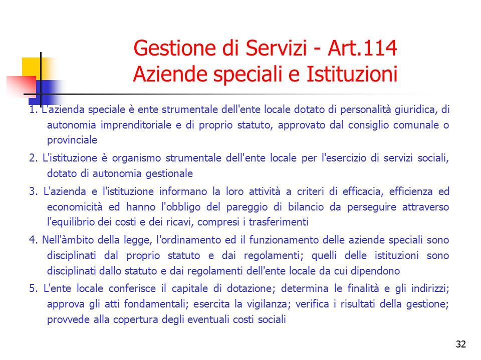 Gestione di Servizi - Art.114 Aziende speciali e Istituzioni