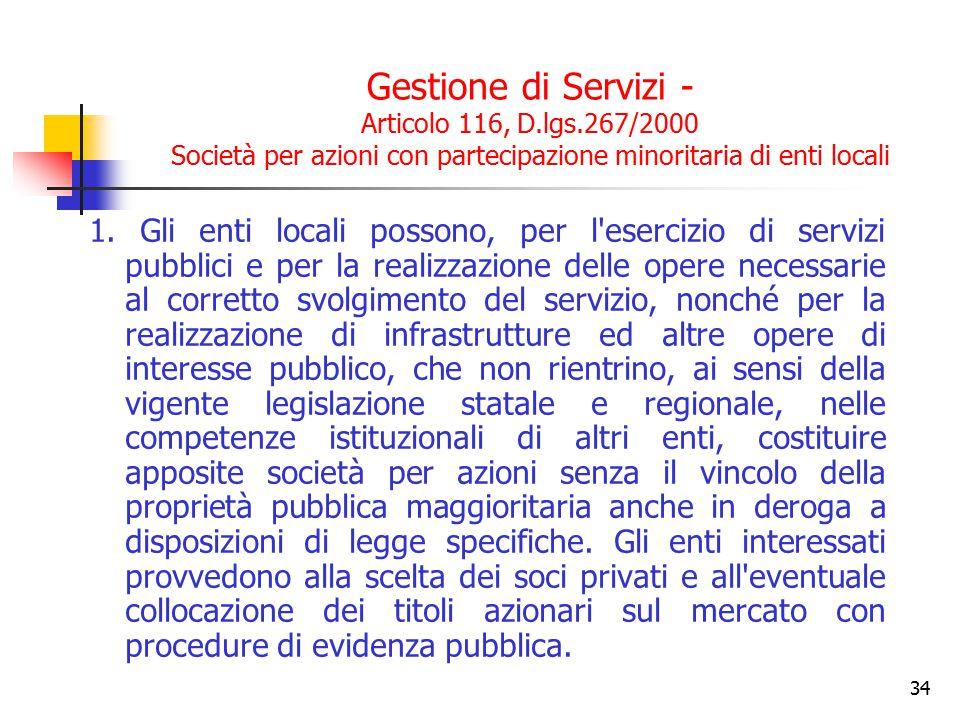 Gestione di Servizi - Articolo 116, D. lgs