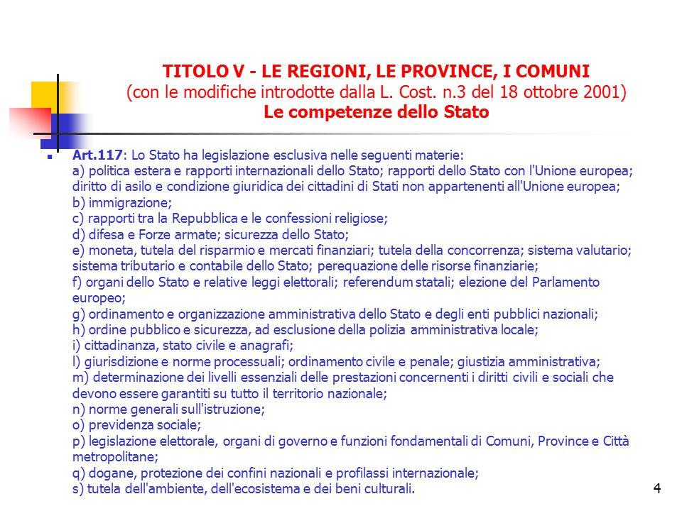 TITOLO V - LE REGIONI, LE PROVINCE, I COMUNI (con le modifiche introdotte dalla L. Cost. n.3 del 18 ottobre 2001) Le competenze dello Stato