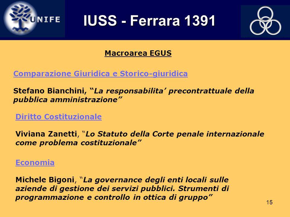 IUSS - Ferrara 1391 Macroarea EGUS