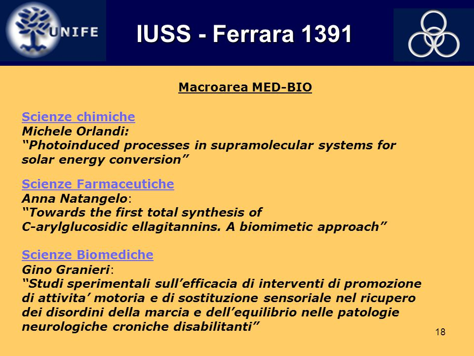 IUSS - Ferrara 1391 Macroarea MED-BIO Scienze chimiche