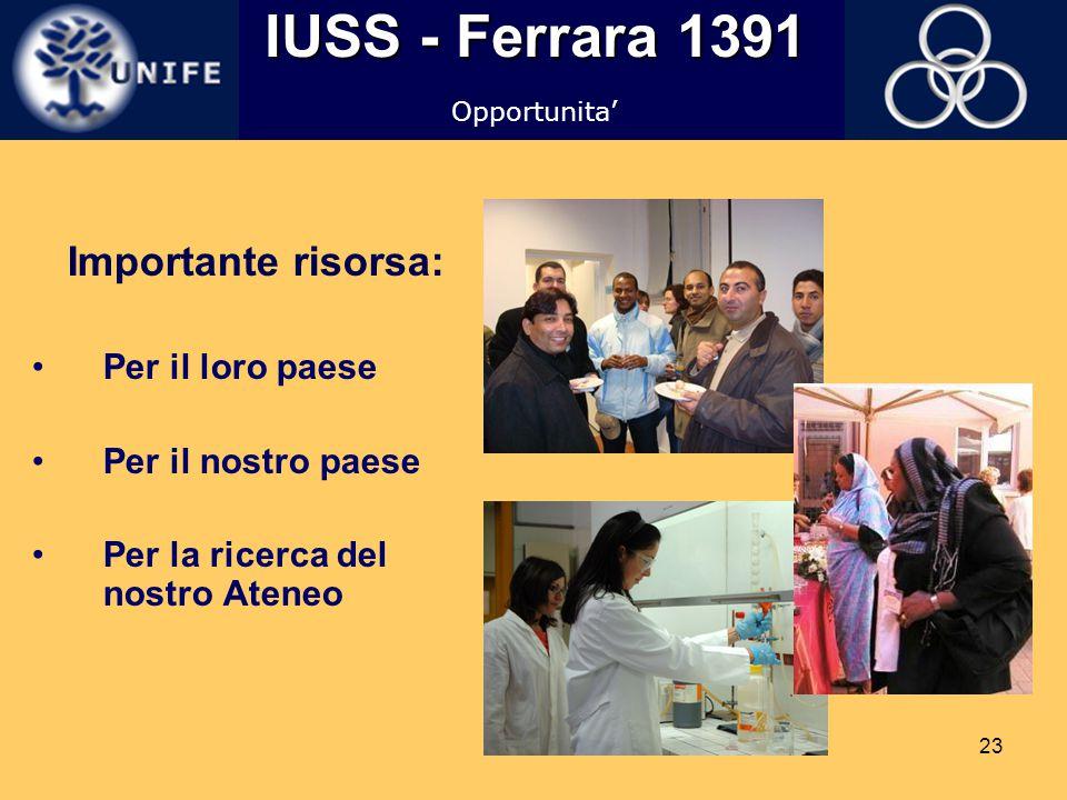 IUSS - Ferrara 1391 Importante risorsa: Per il loro paese