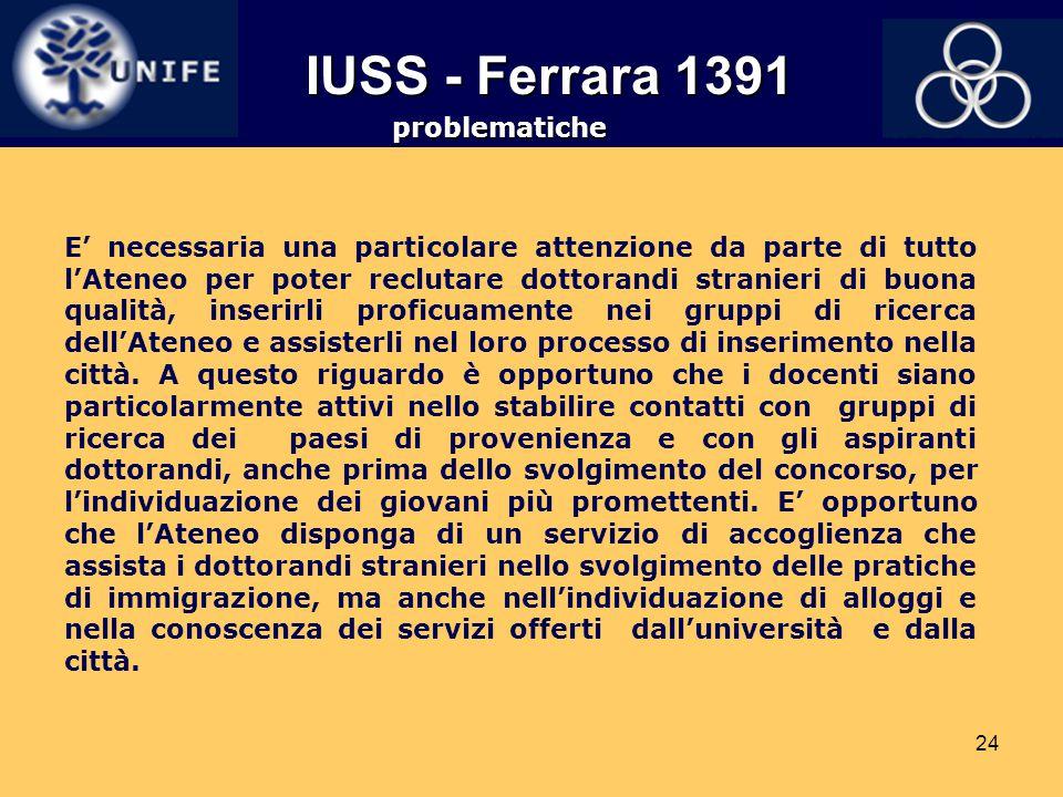 IUSS - Ferrara 1391 problematiche