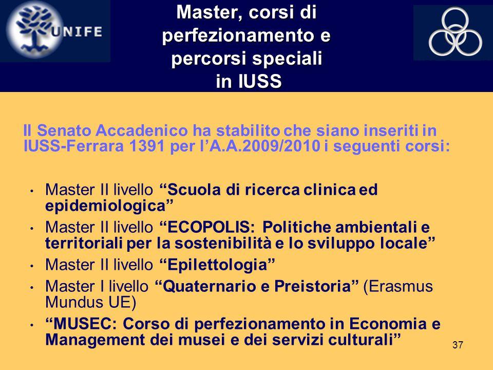 Master, corsi di perfezionamento e percorsi speciali in IUSS
