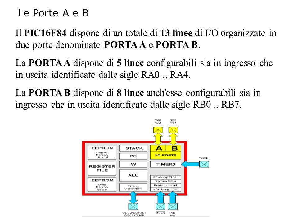 Le Porte A e B Il PIC16F84 dispone di un totale di 13 linee di I/O organizzate in due porte denominate PORTA A e PORTA B.
