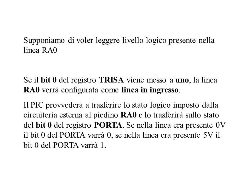 Supponiamo di voler leggere livello logico presente nella linea RA0