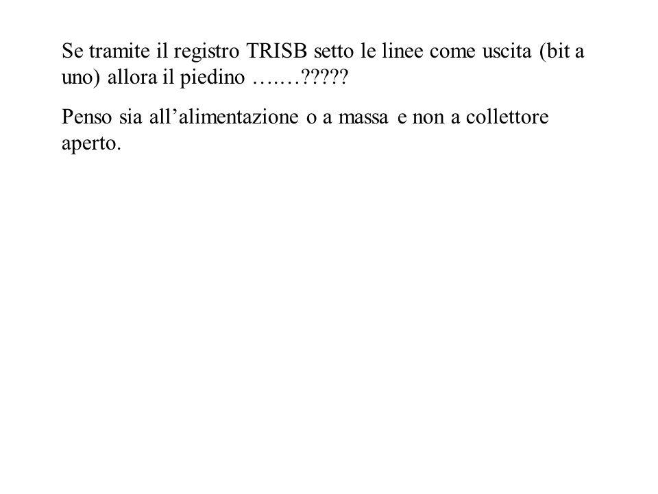 Se tramite il registro TRISB setto le linee come uscita (bit a uno) allora il piedino ….…