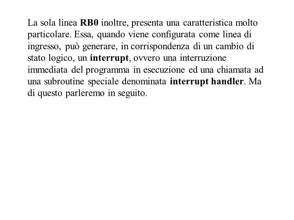 La sola linea RB0 inoltre, presenta una caratteristica molto particolare.