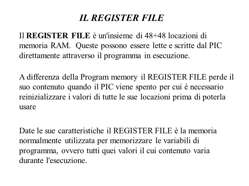 IL REGISTER FILE