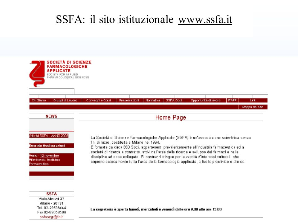 SSFA: il sito istituzionale www.ssfa.it