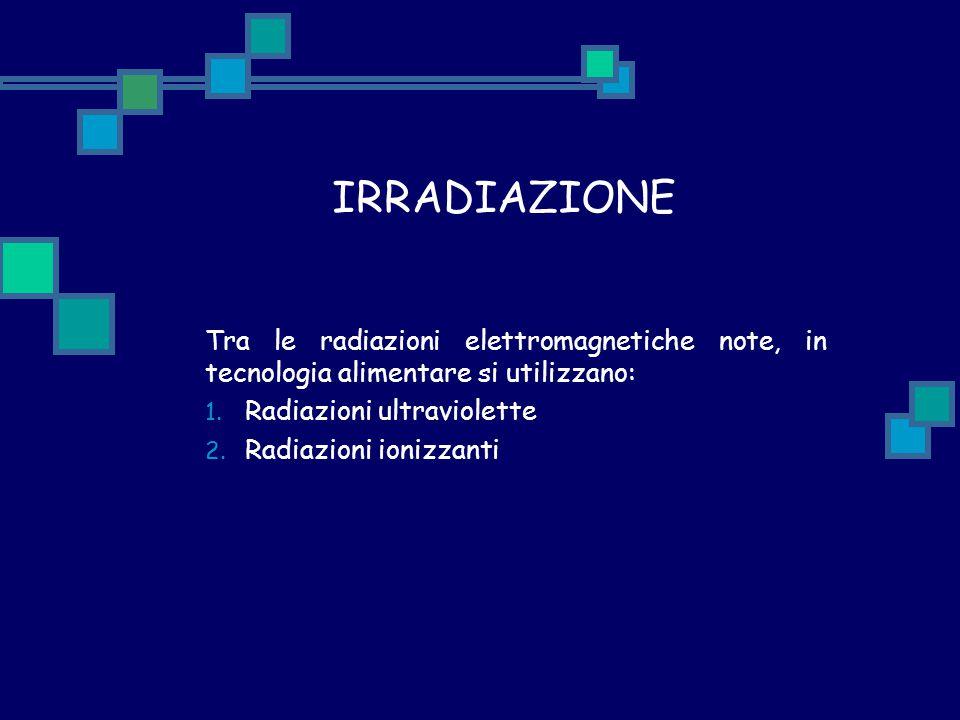 IRRADIAZIONE Tra le radiazioni elettromagnetiche note, in tecnologia alimentare si utilizzano: Radiazioni ultraviolette.