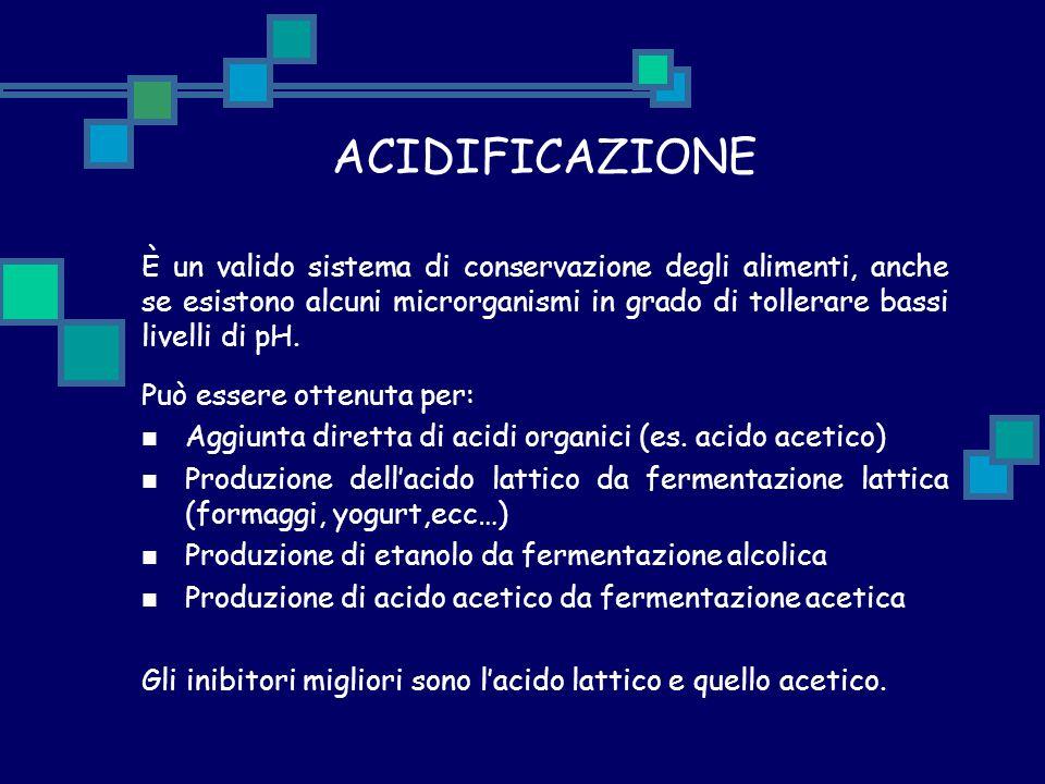 ACIDIFICAZIONE È un valido sistema di conservazione degli alimenti, anche se esistono alcuni microrganismi in grado di tollerare bassi livelli di pH.