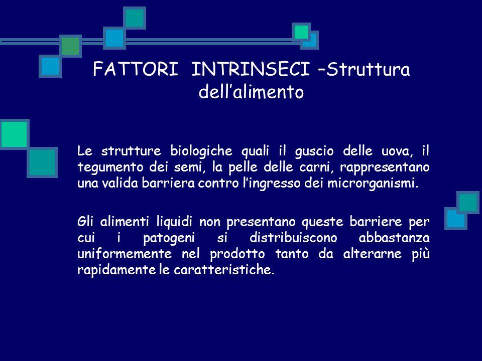 FATTORI INTRINSECI –Struttura dell'alimento