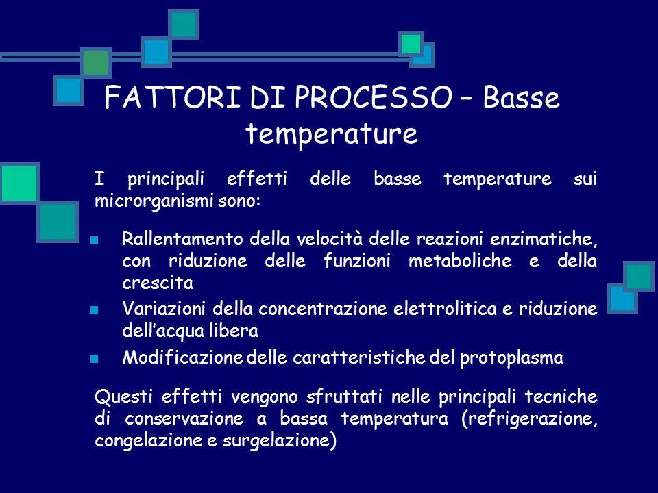 FATTORI DI PROCESSO – Basse temperature