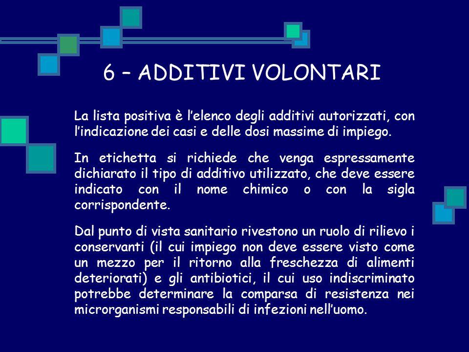 6 – ADDITIVI VOLONTARI La lista positiva è l'elenco degli additivi autorizzati, con l'indicazione dei casi e delle dosi massime di impiego.