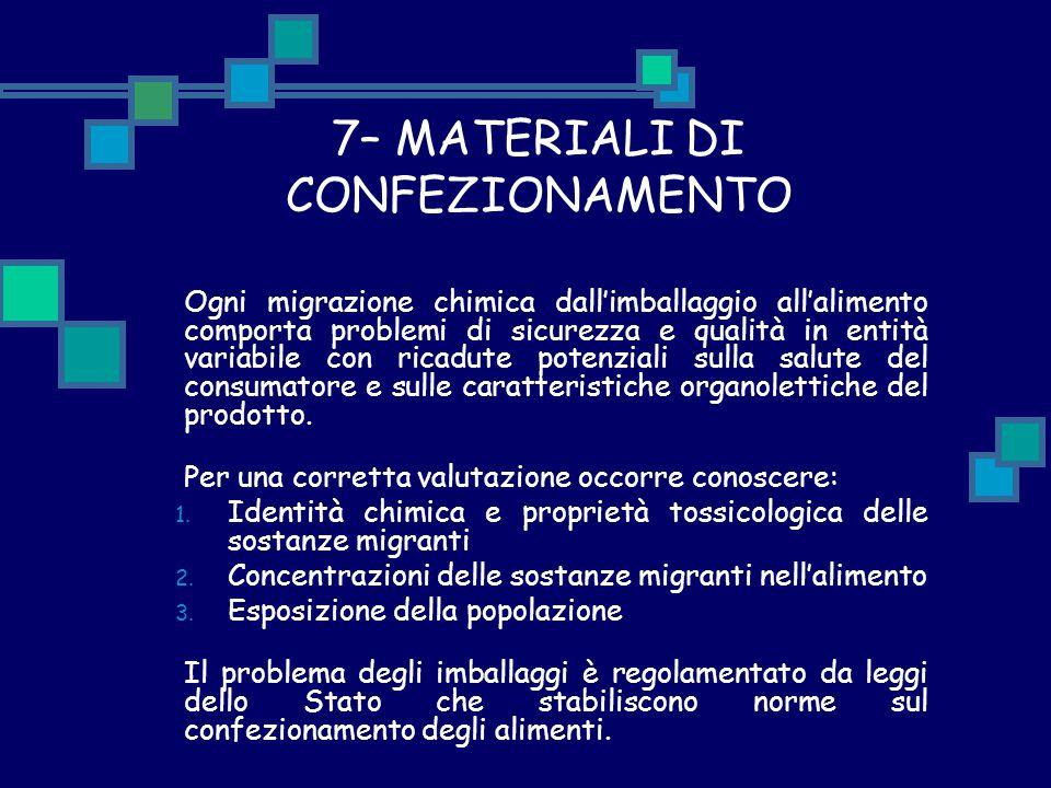 7– MATERIALI DI CONFEZIONAMENTO