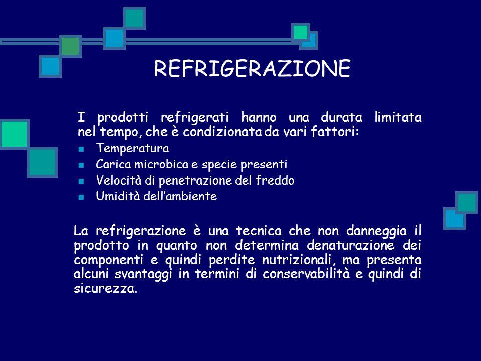REFRIGERAZIONE I prodotti refrigerati hanno una durata limitata nel tempo, che è condizionata da vari fattori: