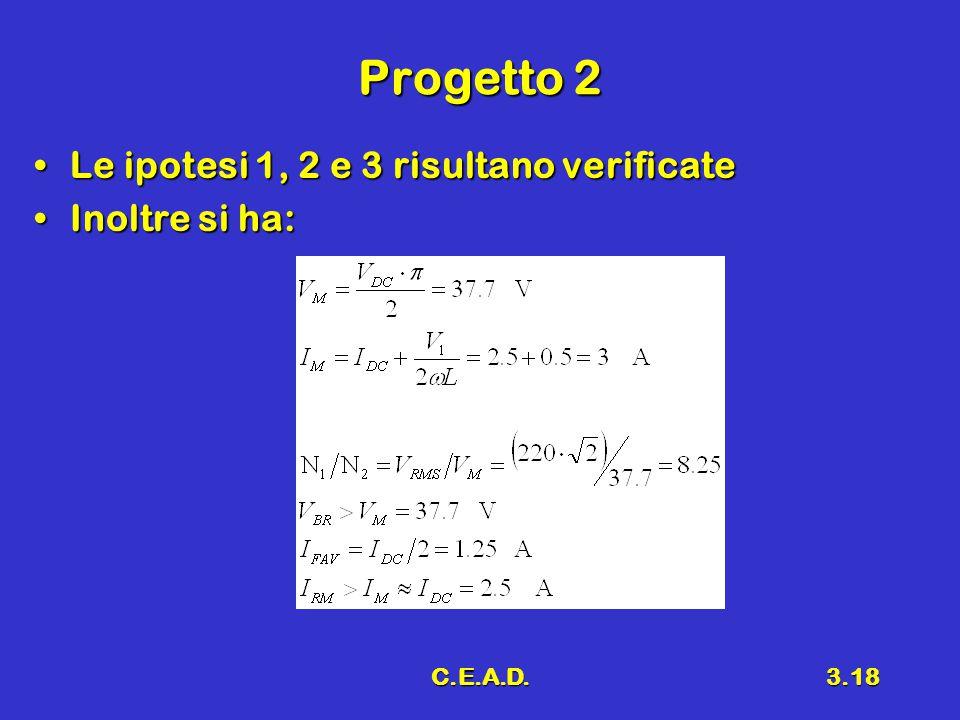 Progetto 2 Le ipotesi 1, 2 e 3 risultano verificate Inoltre si ha: