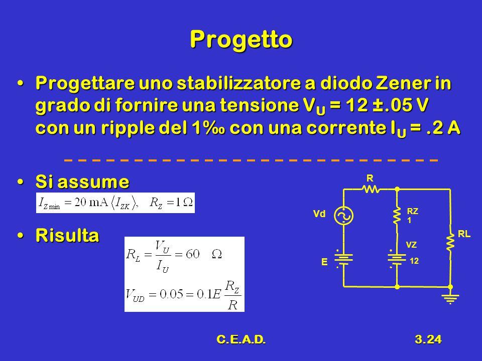 Progetto Progettare uno stabilizzatore a diodo Zener in grado di fornire una tensione VU = 12 ±.05 V con un ripple del 1‰ con una corrente IU = .2 A.