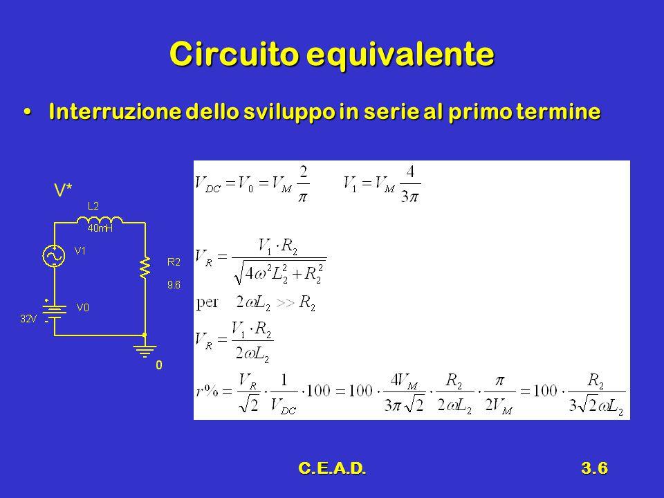 Circuito equivalente Interruzione dello sviluppo in serie al primo termine C.E.A.D.
