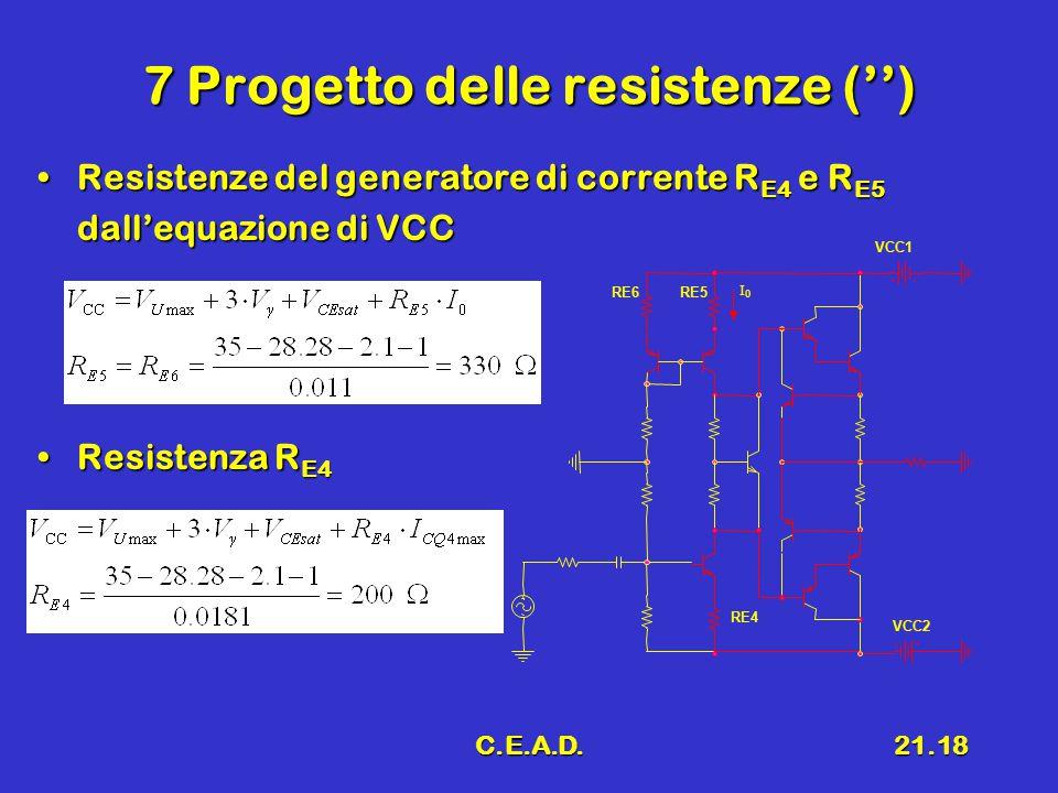 7 Progetto delle resistenze ('')