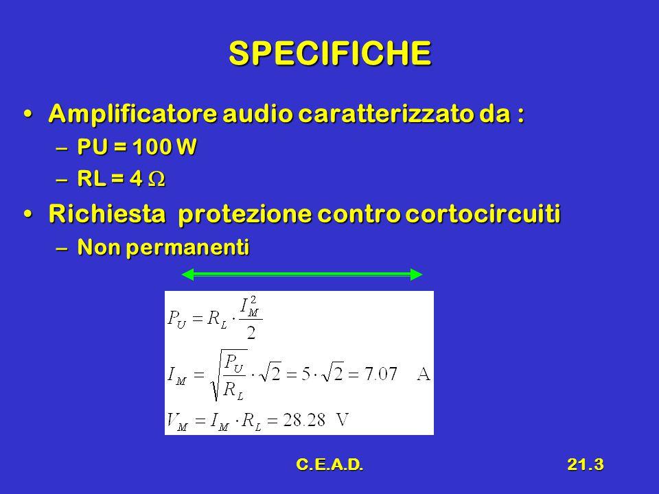 SPECIFICHE Amplificatore audio caratterizzato da :