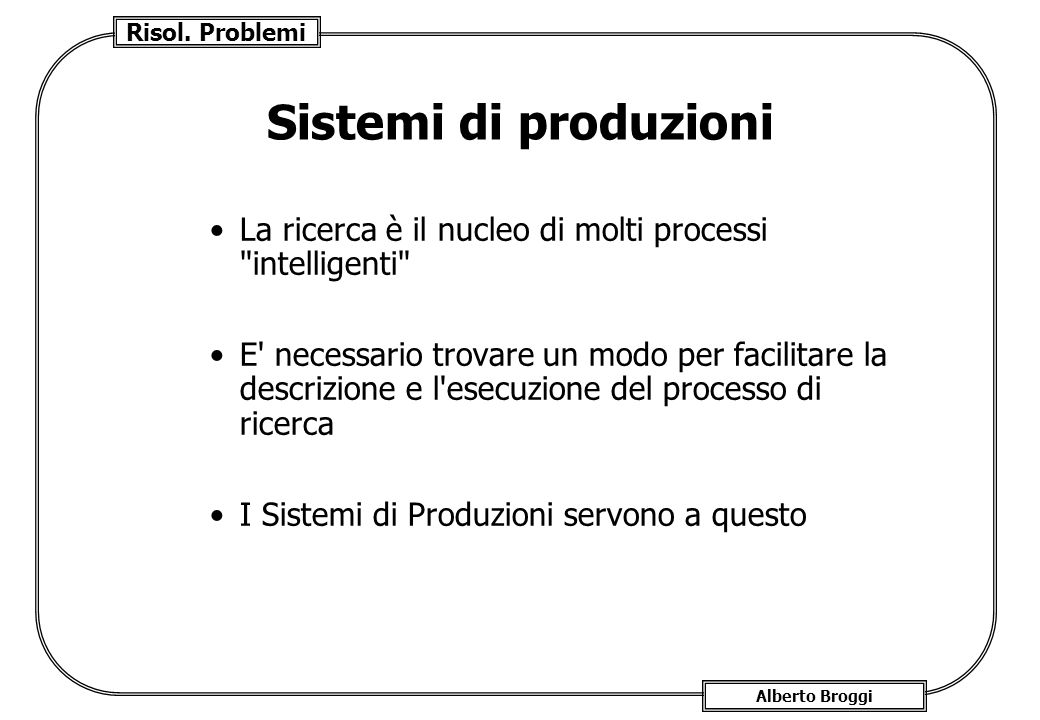 Sistemi di produzioni La ricerca è il nucleo di molti processi intelligenti