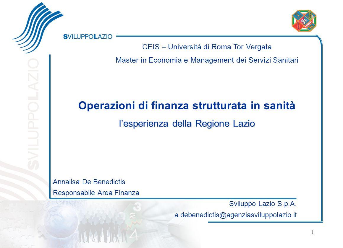 Operazioni di finanza strutturata in sanità