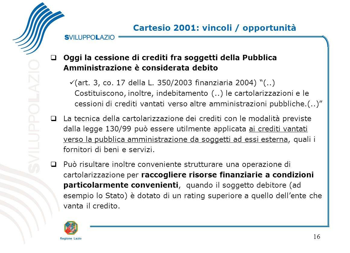 Cartesio 2001: vincoli / opportunità
