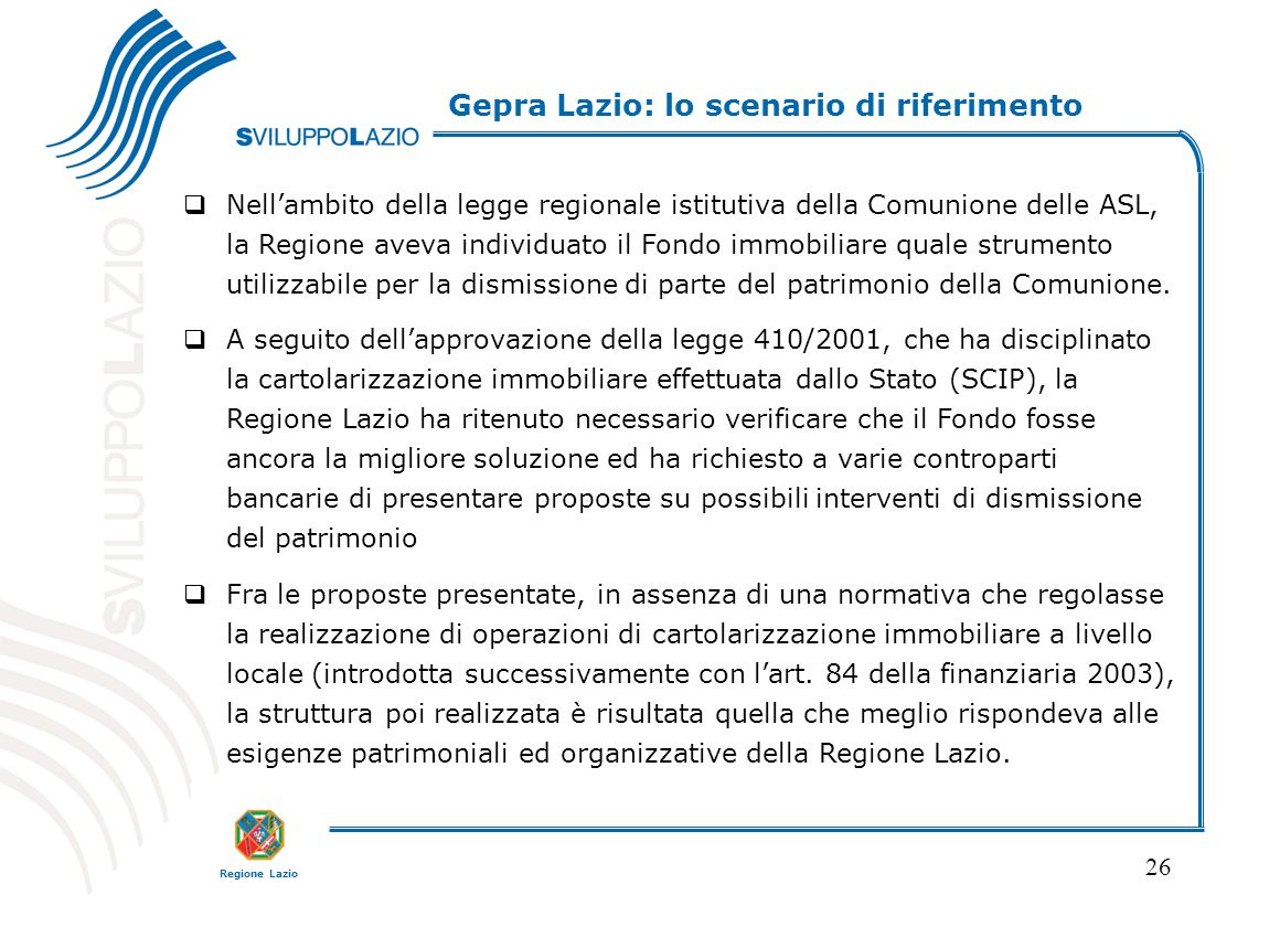 Gepra Lazio: lo scenario di riferimento