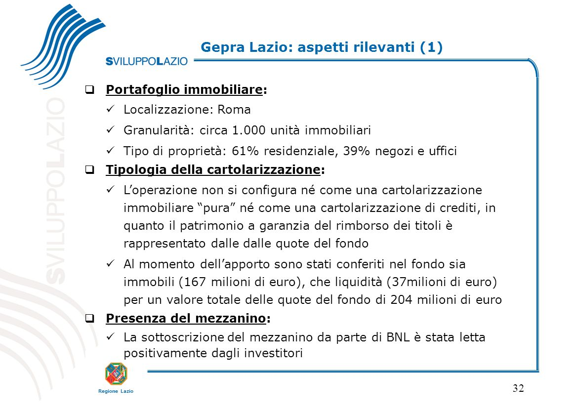 Gepra Lazio: aspetti rilevanti (1)