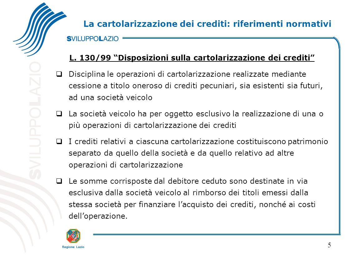La cartolarizzazione dei crediti: riferimenti normativi