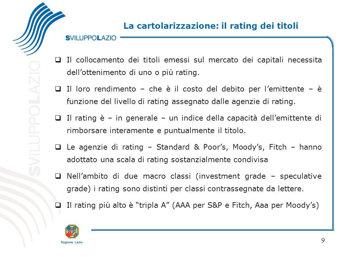 La cartolarizzazione: il rating dei titoli