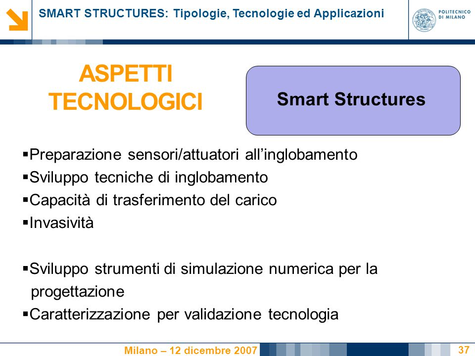 ASPETTI TECNOLOGICI Smart Structures