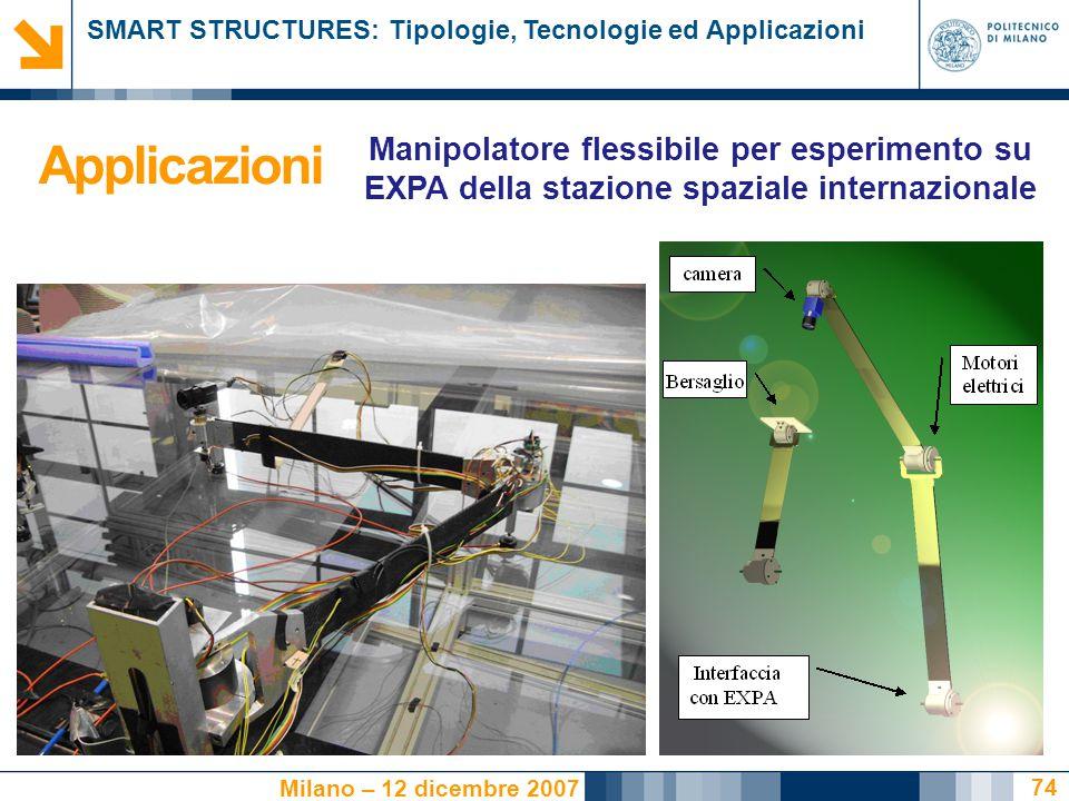 Applicazioni Manipolatore flessibile per esperimento su EXPA della stazione spaziale internazionale