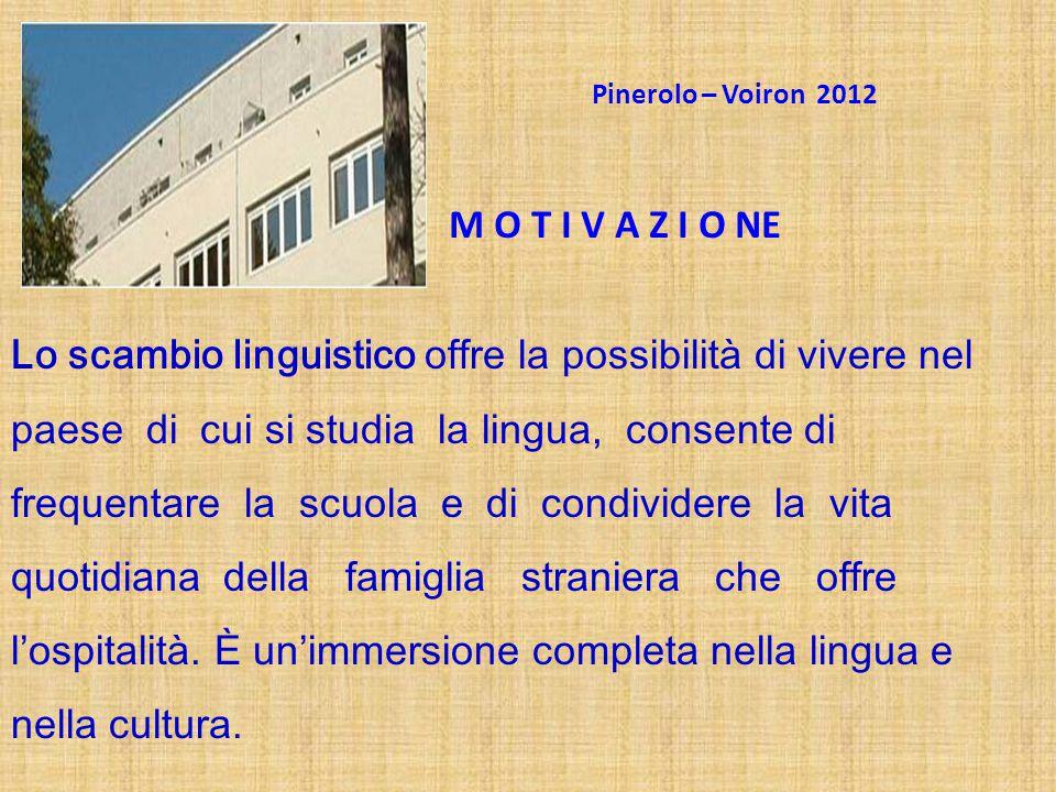 Pinerolo – Voiron 2012 M O T I V A Z I O NE.