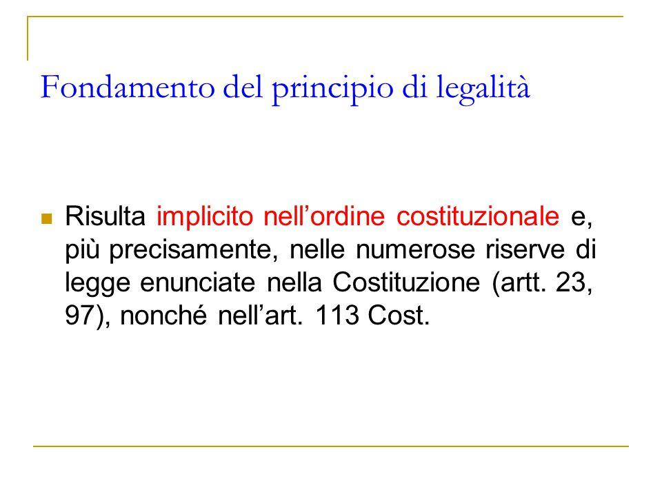 Fondamento del principio di legalità