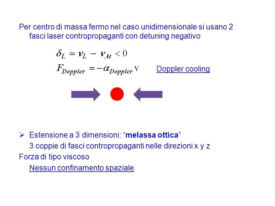Per centro di massa fermo nel caso unidimensionale si usano 2 fasci laser contropropaganti con detuning negativo