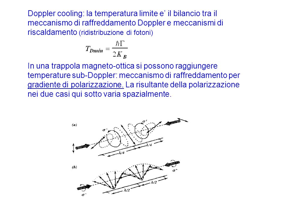 Doppler cooling: la temperatura limite e' il bilancio tra il meccanismo di raffreddamento Doppler e meccanismi di riscaldamento (ridistribuzione di fotoni)