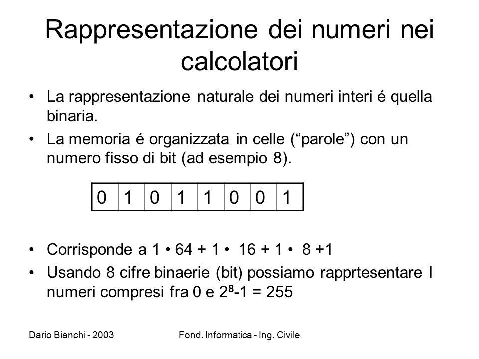 Rappresentazione dei numeri nei calcolatori
