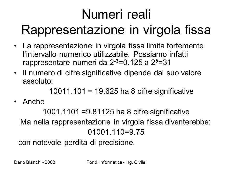 Numeri reali Rappresentazione in virgola fissa