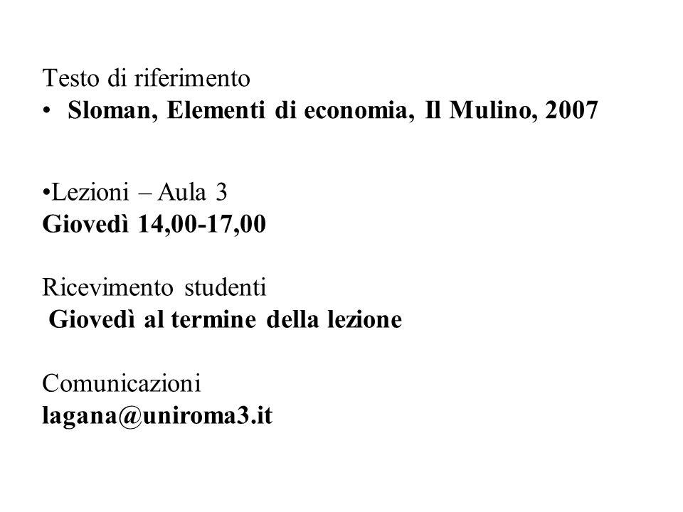 Testo di riferimento Sloman, Elementi di economia, Il Mulino, 2007.